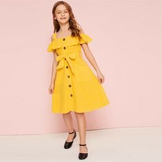 To find out about the Girls Cold Shoulder Ruffle Trim Belted Shirt Dress at SHEIN, part of our latest Girls Dresses ready to shop online today! Baby Girl Dress Patterns, Dresses Kids Girl, Cute Dresses, Kids Outfits, Dress Girl, Girls Fashion Clothes, Kids Fashion, Fashion Dresses, Belted Shirt Dress