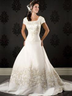 Buy 2013 Brilliant A-Line/Princess Chapel Satin Modest Wedding Dresses Online Cheap Prices