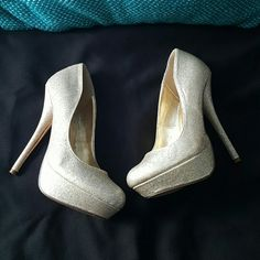 Shiekh Gold Glittered Pumps 5 1/2 inch Gold Pumps Some platform Worn only once Shoes Heels