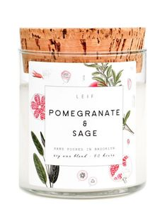 Leif's botanically blended candles beautifully burn with a wooden wick and a strongly scented soy wax blend. Pomegranate & sage: tart pomegranate and woodsy, herbal sage with vibrant undertones of for