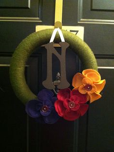Fall wreath for the front door (the flowers are removable so they change with the season).