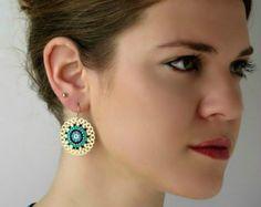 Ethnic Turquoise and Black Gold plated Mandala Big round Dangle earrings Seed Bead Earrings, Circle Earrings, Round Earrings, Beaded Earrings, Etsy Earrings, Women's Earrings, Beaded Jewelry Patterns, Pearl Diamond, Etsy Jewelry