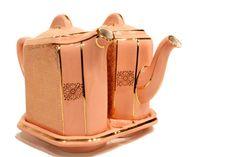 Rare Vintage Hall Twin Tee Teapots  Art Deco Pink & by SFKvintage, $95.00