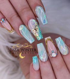 Amazing Tips For The Best Summer Nails – Page 3796056700 – NaiLovely Glam Nails, Bling Nails, Glitter Nails, Cute Nails, Pretty Nails, Nail Polish Designs, Nail Art Designs, Best Acrylic Nails, Ballerina Nails