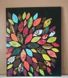 Scrapbook paper cutouts on painted canvas!