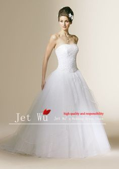 2013 new arrival A-line floor-length beading off the shoulder white tulle skirt wedding dress all size free shipping $220.00