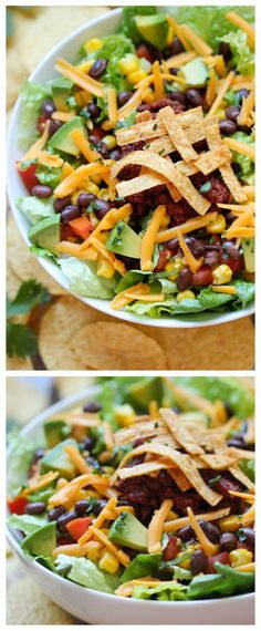 Healthy Taco Salad // Yumm- I will replace the meat with veggie option.