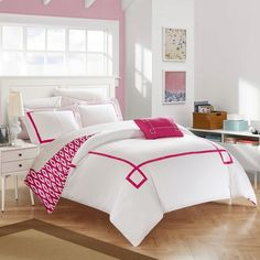 Chic Home 8-Piece Xanti Fuchsia BIB Duvet Set
