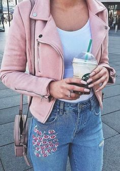 cute outfit of the day | pink biker jacket + top + bag + embroidered jeans