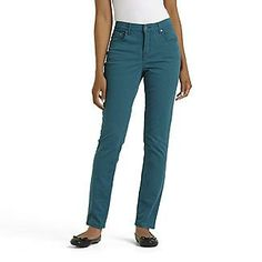 Jaclyn Smith Women's Slim Ankle Stretch Jeans in Shaded Spruce.