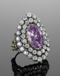 Pink Topaz and Diamond Cluster Ring, circa 1828