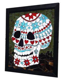 Nordic Sweater Sugar Skull – Sequential Glass Art Mosaic
