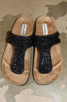 Birkenstock inspired black sandals with just the right amount of bling!