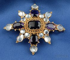 Antique Amethyst and Moonstone Brooch, prong-set with oval and cushion shape faceted amethysts and cabochon moonstones, 14kt gold mount with ropetwist and applied bead accents, wd. 2 3/4 in.  [I'm guessing Victorian]
