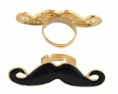 2 Pieces of Gold with Black Mustache Adjustable Finger Ring JOTW. $0.95