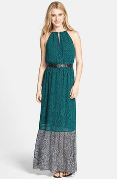 MICHAEL Michael Kors Chain Neck Belted Maxi Dress available at #Nordstrom