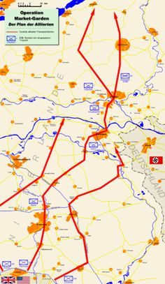 Operation Market Garden - map of the Allied plan. Red lines - the Allied directions of attack. Blue rectangles - symbols of Allied units. Elements Of Drama, Remembering September 11th, Battle Of Normandy, Operation Market Garden, Military Tactics, Hans Peter, D Day Landings, 101st Airborne Division, Band Of Brothers