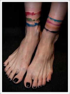 RGB, and CMYK brush strokes | Julian Oh. Scary feet, but I love the bands! CMYK as a forearmband would be awesome.