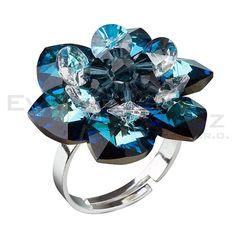 Prsten se Swarovski ELEMENTS 35012.5 bermuda blue