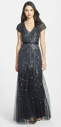 Charcoal beaded gown