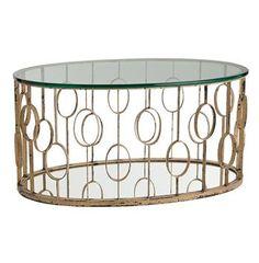 Xena Oval Hollywood Regency Circle Gold Leaf Coffee Table $1511 (free shipping) New York interior designer jaredshermanepps.com
