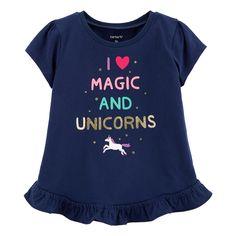"""Toddler Girl Carter's """"I Love Magic And Unicorns"""" Ruffled-Hem Top, Size: 4T, Blue Toddler Girl Shorts, Baby Girl Shirts, Baby Girl Tops, Carters Baby Girl, Toddler Outfits, Kids Outfits, Baby Girls, Glitter Girl, Glitter Dress"""