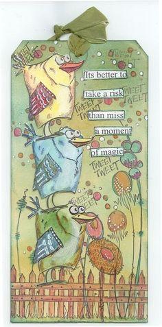 Risultati immagini per birds crazy tags Crazy Bird, Crazy Dog, Crazy Cats, Dog Cards, Bird Cards, Timmy Time, Tim Holtz Stamps, Doodle, Scrapbooking