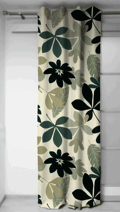 Curtains panels in fabric Feuillus Black and White, Home Decor, Drapery 54'' large