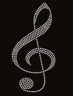 Music Treble Clef in White Crystal Rhinestone Transfer 1992c1930a23