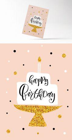 Minimalistic Happy Birthday Card  Creative Card Templates