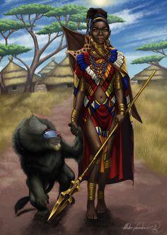 f Ranger w baboon steppe plains jungle Black Women Art!, Fayola warrior by ~MatesLaurentiu Art Black Love, Black Girl Art, Art Girl, Afrika Corps, African Goddess, Black Art Pictures, Orisha, Black Artwork, Afro Art