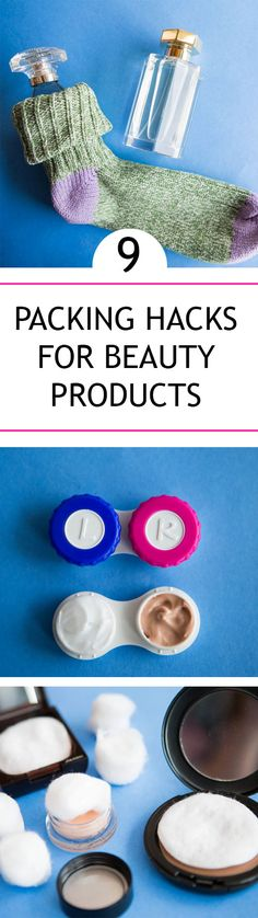 9 genius space-saving packing hacks for your beauty products: http://www.cosmopolitan.co.uk/beauty-hair/makeup/advice/a35971/genius-hacks-for-packing-beauty-products/