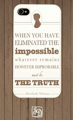 Iphone 4 case SHERLOCK Holmes quote  minimalistic  by FeerieDoll, $15.00