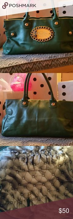 """NWOT BETSY JOHNSON GREEN BAG/TOTE BETSY JOHNSON super soft emerald green leather bag with gold embellishments!   Dimensions 16 X 10 X 4  1/2"""" .  This bag is impeccable inside.  GEORGOUS Betsey Johnson Bags Totes"""