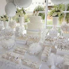 all white elegant bridal shower ideas with balloon decorations Elegant Bridal Shower, Bridal Shower Party, Baptism Decorations, Balloon Decorations, Wedding Candy, Wedding Desserts, Candy Table, Candy Buffet, Fiesta Shower