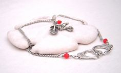 Honda red dirt bike necklace with genuine swarovski crystals and handcuff clasp by CherryBlossomMuse, $17.99