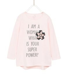 T-SHIRT WITH SHIMMER AND SLOGAN-BASICS-GIRL | 5 - 14 years-KIDS | ZARA United States