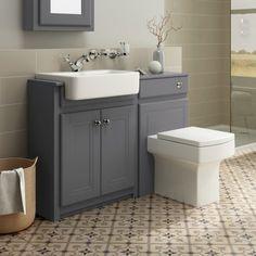 1167mm Cambridge Midnight Grey Combined Vanity Unit | Belfort Pan - soak.com