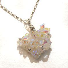Dainty Angel Aura Crystal Cluster Butterfly Pendant