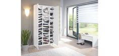 SCHUHSCHRANK  Weiß - Silberfarben/Weiß, MODERN, Holzwerkstoff/Metall (90,6/188,5/28,0cm) - XORA