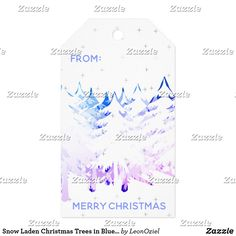 Snow Laden Christmas Trees in Blue Purple & White Gift Tags Christmas Gift Tags, Christmas Trees, Christmas Holidays, Bright Purple, Blue, Custom Ribbon, Old Newspaper, Personalized Gift Tags, Vintage Gifts