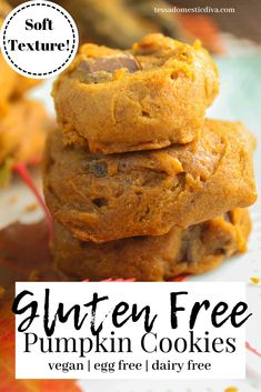 Soft and tasty, these pumpkin cookies are free from gluten, dairy, and EGGS! Celebrate fall! Gluten Free Pumpkin Cookies, Soft Pumpkin Cookies, Gluten Free Desserts, Fall Recipes, Real Food Recipes, Make Ahead Lunches, Allergy Free Recipes, Easy Snacks, Diva