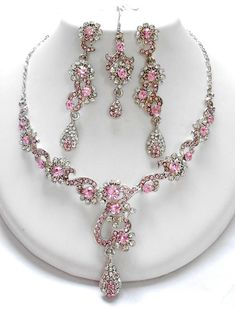 pink and white combination of Exclusive fashion jewelry set from www.impexfashions.com