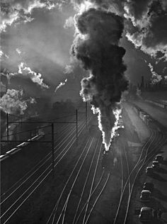 Train yard, Baltimore, Maryland, 1945, a photo by A. Aubrey Bodine via mdhsphotographs