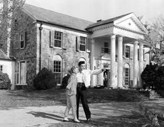 Elvis Presley with his girlfriend Anita Wood at his home Graceland( before Priscilla and the army)