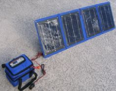 16AH Solar Powered Power Center kit for powering laptop - Also how much of a sys you'll need explained here: http://www.ctsolar.com/laptopsolarpowerinformation.aspx