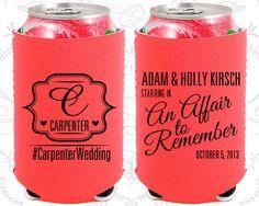 An Affair to Remember, Neoprene Wedding, Romantic Wedding, Monogrammed, Monogram Wedding, Neoprene Wedding Favors (595)