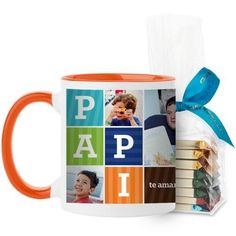 Papi Mug, Orange, with Ghirardelli Assorted Squares, 11 oz, Brown