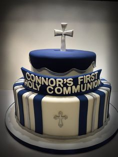 Communion Cake on Cake Central - but could do red and silver stripes or red and navy