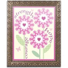 Trademark Fine Art Pink Ribbon Flowers Canvas Art by Jennifer Nilsson, Gold Ornate Frame, Size: 11 x 14, Assorted